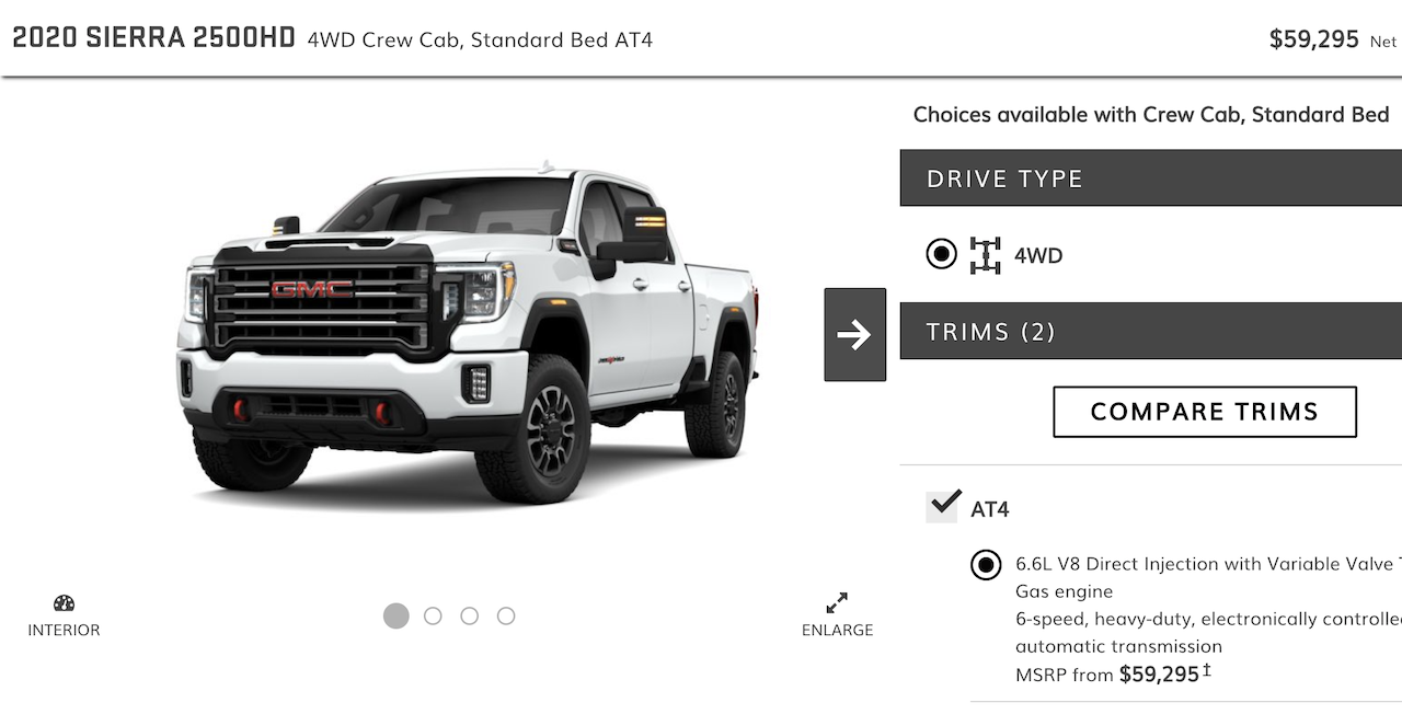 2020 Gmc Sierra Hd Online Configurator Is Live! At4 And Denali Only 2020 Gmc Sierra 2500Hd Interior, Msrp, Mpg